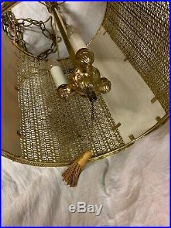 Vintage Mid Century Swag chain hanging light hollywood regency lamp gold metal