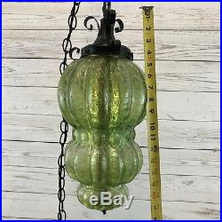Vintage Mid Century Tudor Hanging Swag Light / Lamp Green Crackle Glass