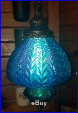 Vintage Mid Century Turquoise Blue Draped Art Glass Shade Hanging Swag Lamp