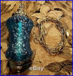 Vintage Mid Century Turquoise Blue Moon Space Texture Glass Hanging Swag Lamp