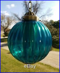 Vintage Mid Century Turquoise Blue Ribbed Glass Ball Shade Hanging Swag Lamp