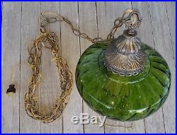 Vintage Mid Century UFO Green Optic Glass Hanging Swag Lamp Pull Chain Light