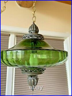 Vintage Mid Century Ufo Electric Green Optic Glass Hanging Swag Lamp Light 1960s