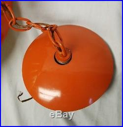 Vintage Mid Century modern orange Ceiling LAMP Hanging Light chandelier rare