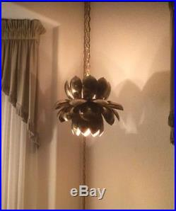 Vintage Mid century Hollywood Regency Brutalist Double Lotus Hanging Swag Lamp
