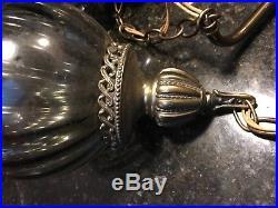 Vintage Mid century Swag Hanging Light Lamp Gorgeous Smoked Glass 3 Globe