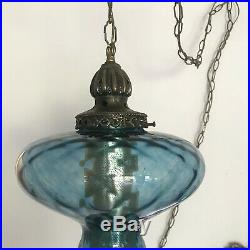 Vintage Midcentury Swag Lamp Blue Glass Retro Hanging Wall Lamp