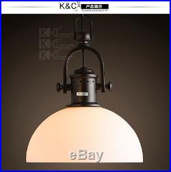 Vintage Milk Glass Dome Pendant Ceiling Lamp Retro Hanging Light Fixxture 11.8
