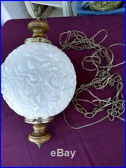 Vintage Milk Glass Globe Swag Hanging Light Lamp Mid Century Modern 60's or 70's