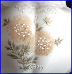 Vintage Milk White Glass With Hand-Painted Floral Design Electric Hanging Lamp