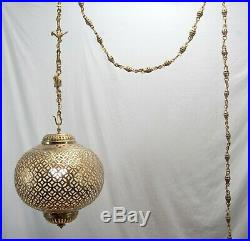 Vintage Moroccan Brass Ceiling Light Fixture Hanging Lamp Chandelier with11' Chain