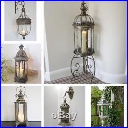 Vintage Moroccan Garden Lantern Candle Holder Floor Hanging Metal Lamp Patio NEW