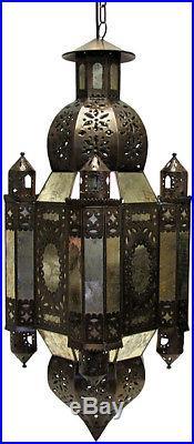 Vintage Moroccan Lantern in Antique Distressed Glass Handmade Hanging Tin Decor