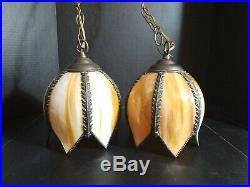 Vintage Multi Panel Slag Glass Pair of Tulip Swag Lamps or Hanging Lights MCM