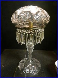 Vintage Mushroom Cut Crystal Electric Lamp with 32 Hanging Crystals 18.5 x 9 VG