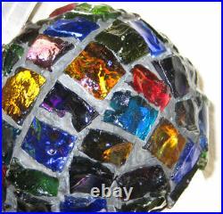 Vintage Nader / Peter Marsh Chunk Glass Hanging Lamp Shade Mid Century Brutalist