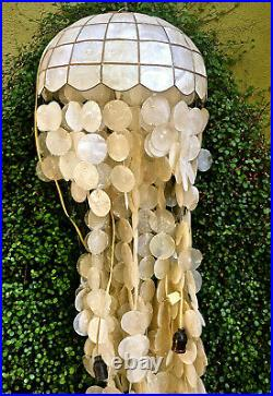 Vintage Natural Capiz Shell Tiffany Style Hanging Swag Light Lamp Chandelier