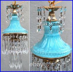 Vintage Ocean Blue beads Lady cupcake glass crystal Brass SWAG lamp chandelier