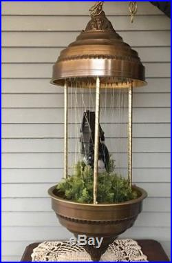 Vintage Oil Drip Rain Hanging Lamp with Mill & Water Wheel 34 Tall