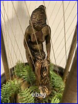 Vintage Oil Motion Rain Lamp Goddess Woman Lady Hanging Swag Table Light Mcm