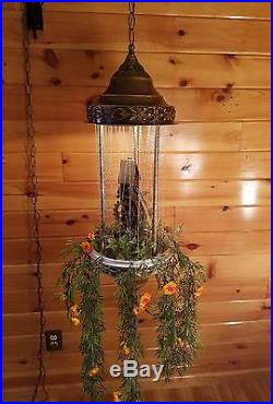Vintage Oil Rain Grist MILL Moving Water Wheel Hanging Swag Light Lamp