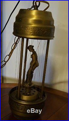 Vintage Oil Rain Pillar Nude Lady Greek Goddess Hanging 20 Lamp Light