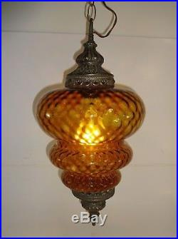 Vintage Orange AMBER Glass Hanging Brass Lamp Light with Chain Swag 22 Tall
