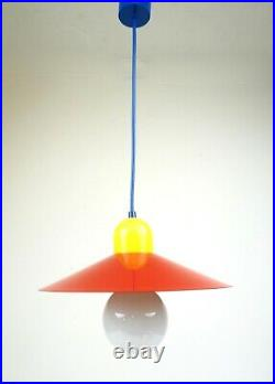Vintage Original 80s Memphis Stunning Colors Hanging Ceiling Lamp Pendant