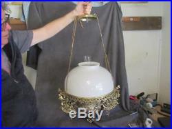 Vintage Ornate B&P Hanging Oil Style Chandelier Cherubs Milk Glass Shade ksc81