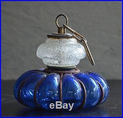 Vintage Ornate Blow Blue Bubble Glass Old Industrial Pendant Hanging Decor Lamp