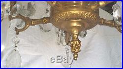 Vintage Ornate Brass 5-Arm Chandelier 10 Lights Crystal Prisms Hanging Lamp