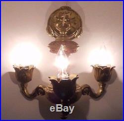 Vintage Ornate Heavy Brass 3 Arm Chandelier Hanging Lamp Light Ceiling Fixture