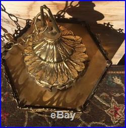Vintage Ornate Metal Brass Amber Color Glass Hanging Lamp Light 1970s Hollywood