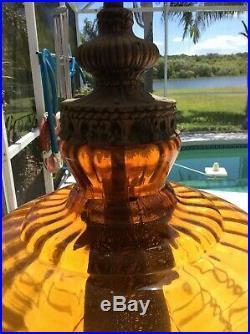 Vintage Ornate Swag Lamp Heart Shape Glass Amber Hanging Light Art Deco MCM