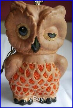 Vintage Owl Swag Hanging Lamp Very Rare