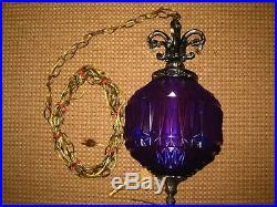 Vintage PURPLE Faceted Glass Hanging Swag Lamp Pull Chain Light with Prisms