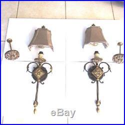 Vintage Pair Gothic Wall Sconces Hanging Lantern Brass Electric Lamp Bracket