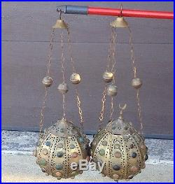Vintage Pair Moroccan Jeweled Pierced Brass Hanging Lamps Lanterns Lights