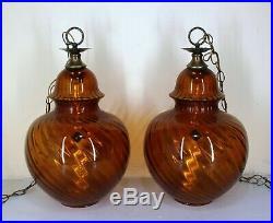 Vintage Pair of Amber Glass Lamps Hanging Swag Light MCM Retro Atomic Large