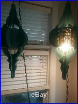 Vintage Pair of Hanging Swag Lamps Mid Century Modern Light Blue