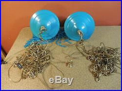 Vintage Pair of Hanging Swag Lamps Mid Century Modern Light Blue w Beaded Fringe