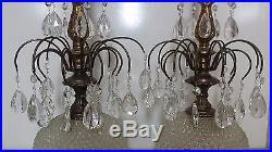 Vintage Pair of Hollywood Regency brass crystal / glass hanging prisms lamps 31
