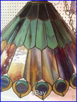 Vintage Peacock Feather Stained Glass Hanging Swag Light Lamp Shade