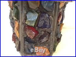 Vintage Peter Marsh SIGNED Chunk Glass Hanging Lantern Shade No Lamp Fixture