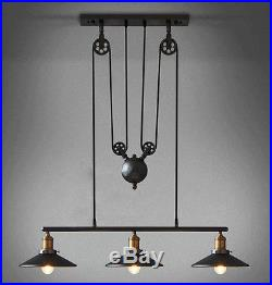 Vintage Pulley Pendant Loft Ceiling Light Hanging Lamp Artistic Lighting Fixture