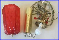 Vintage RED Glass Hanging MCM Pendant Cylinder Hexagon Swag Lamp With Diffuser