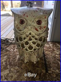 Vintage RETRO MID CENTURY 12 CERAMIC OWL HANGING SWAG LAMP LIGHT 2 SIDED