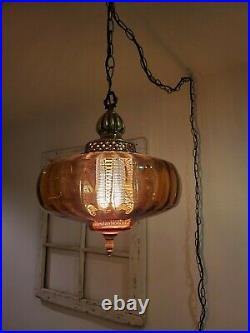 Vintage REWIRED Amber Swag Hanging Light Glass Globe Mid Century Lamp Plug In