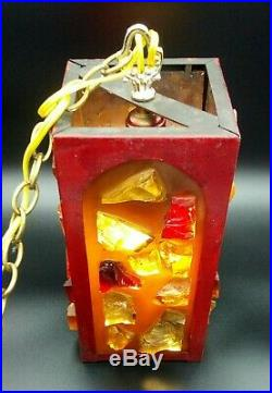 Vintage ROCK CANDY MCM Metal Cage CHUNKY LUCITE Hanging Swag Chain Light Lamp