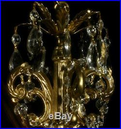 Vintage ROCOCO hanging Spelter brass plate pendant Lamp Crystal petit Chandelier